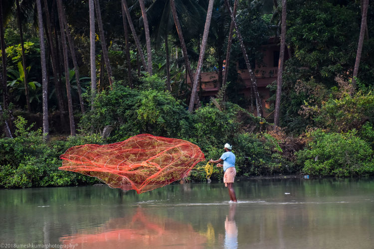 Timeng #fisherman Tree Water Full Length Men Standing Reflection Casual Clothing Fishing Net Fishing Equipment Commercial Fishing Net Fishing
