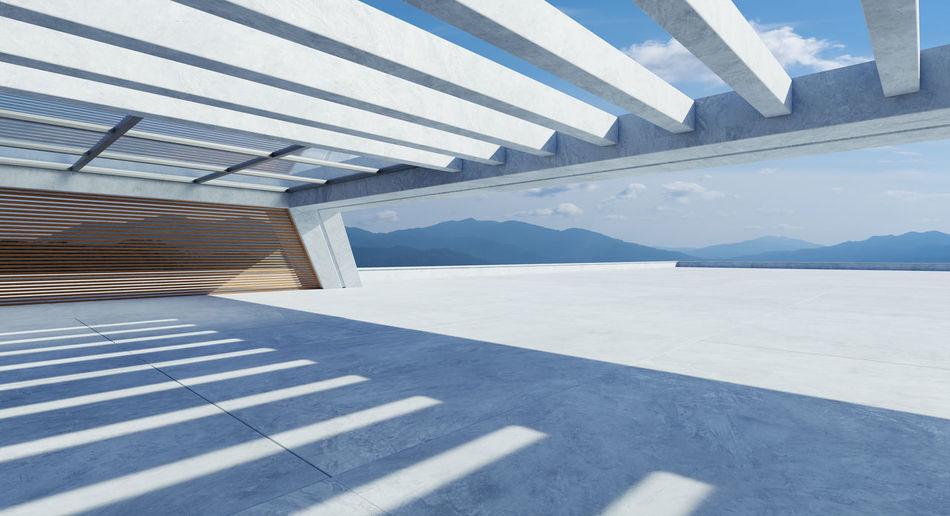 Shadow of modern building against sky