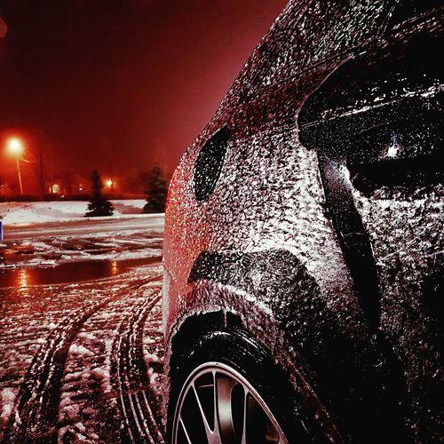 No People Night Freezing Rain Car Outdoors