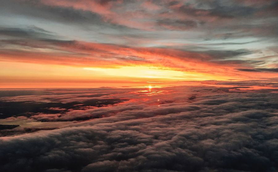 Sunrise in sky Sunrise Cloud - Sky Sunset Beauty In Nature Scenics - Nature Sky Orange Color Tranquil Scene Dramatic Sky Idyllic Cloudscape Moody Sky Atmospheric Mood Nature Environment No People Awe Tranquility Meteorology Outdoors Majestic
