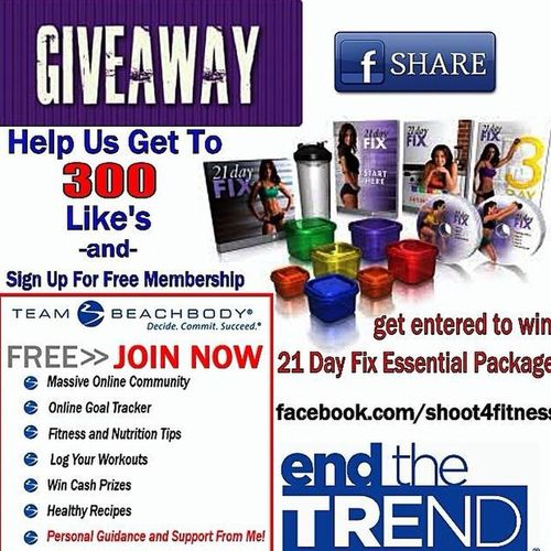 Help our health & wellness page reach 300 fans. Sign up for a Free membership and YOU could Win our Giveaway Shoot4fitness beachbody 21dayfix oilfieldwife