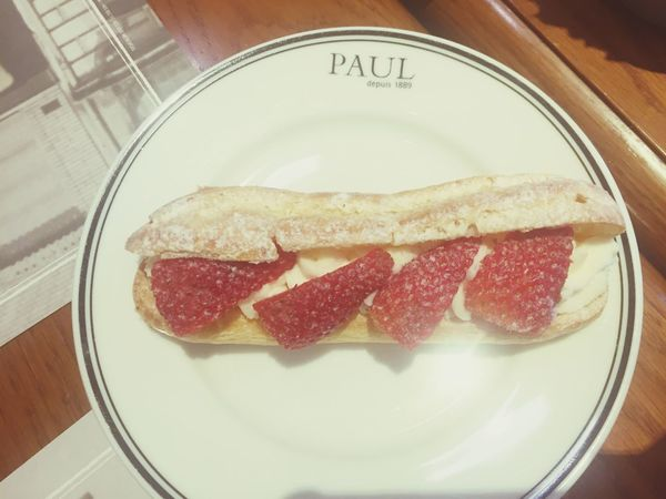 Strawberry Eclair is ❤️😍 Indoors  Food Freshness Indulgence High Angle View Plate