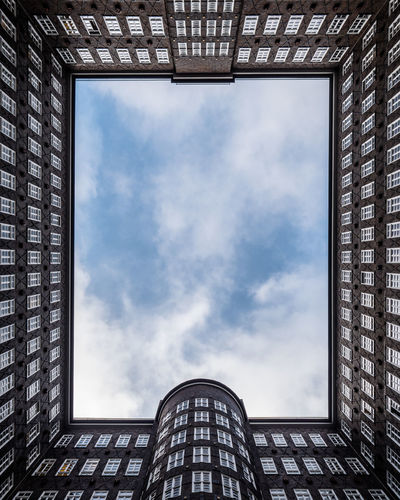 Look up - the Hamburg Sky without a plane Architecture Building Exterior Built Structure City Cloud - Sky Day Indoors  Low Angle View Modern No People Sky Skyscraper Window