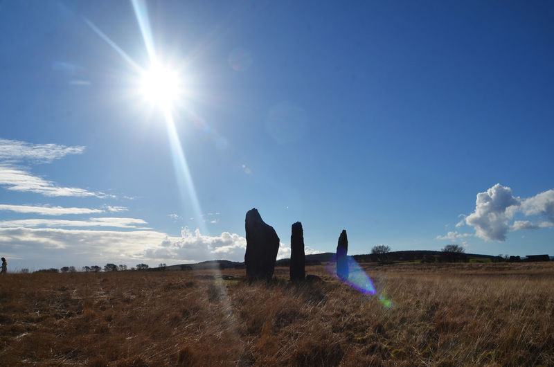 Arran  Isle Of Arran  Peace Scotland Tranquility Beauty In Nature Day Field Landscape Leisure Activity Lens Flare Lifestyles Men Nature Outdoors Peaceful People Real People Scenics Sky Standing Stones Sun Sunbeam Sunlight