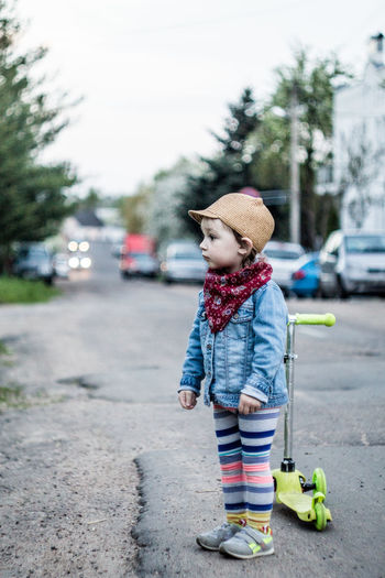 Belarus Minsk Car Casual Clothing Child Childhood City Clothing Day Hat Mode Of Transportation One Person Outdoors Real People Road Standing Street Transportation Tree