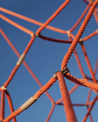 Low angle view of rope against clear sky