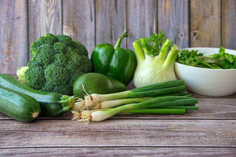 Close-up of green vegetables on table