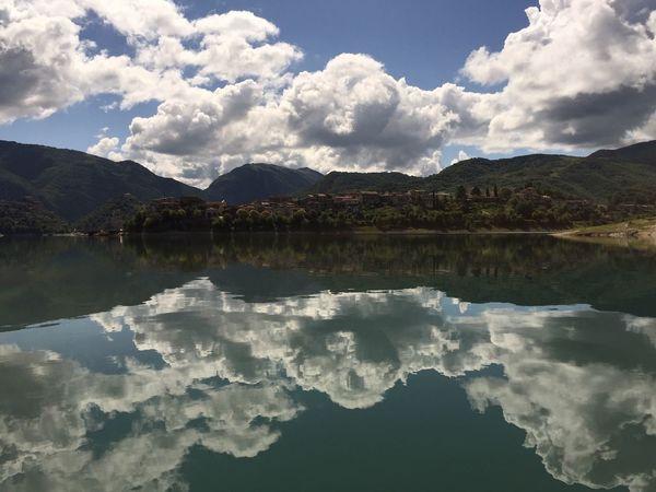 Reflection Mountain Tranquility Sky Italy Turano Lake