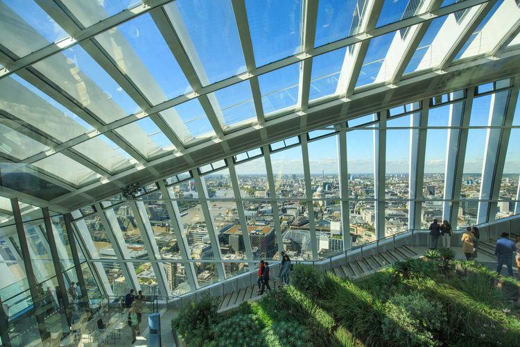 Interior View of Sky Garden with panoramic views from glass windows Architecture Atrium London Scenic Lookout Sky Garden Architecture Built Structure Conservatory Day Glass - Material Greenhouse Indoors  Interior Design Modern Public Places Roof Sky Windows