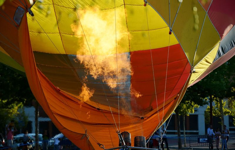 Close-up of hot air balloon against sky
