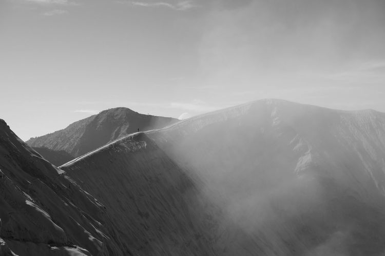 Crater rim of Mt.Bromo, Indonesia Beauty In Nature Black And White Crator Day Landscape Mountain Mountain Peak Mountain Range Mt.Bromo Nature No People Outdoors Scenics Sky Tranquil Scene