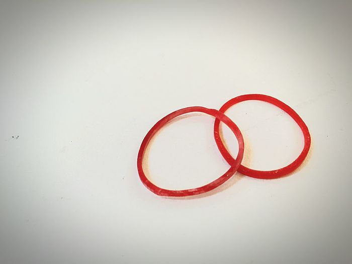 Plastic band Red Plastic Band Plastic Band EyeEm Selects No People Indoors  Close-up Day White Background Single Object Studio Shot Circle