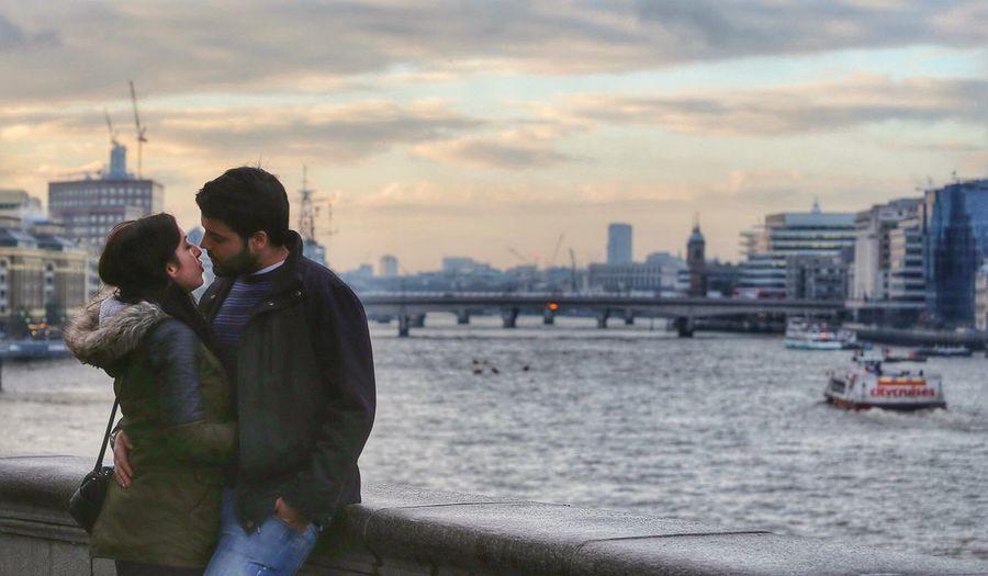 Romance on the bridge.