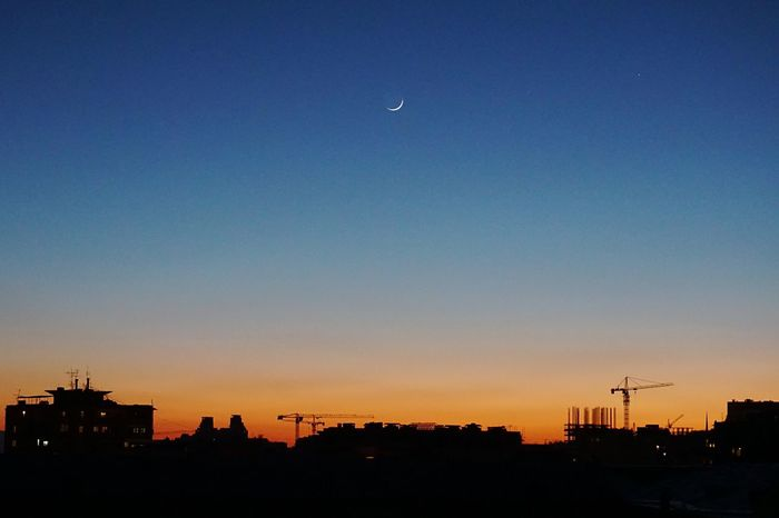 Sunset Silhouette City No People Sky Moon Night Building Exterior Architecture Clear Sky Yerevan Armenia First Eyeem Photo EyeEmNewHere Shushannaagapi Shushannaagapiphoto