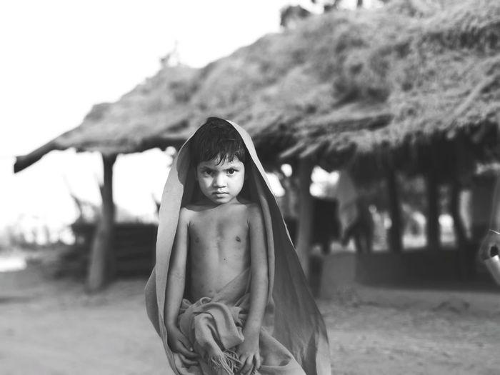EyeEm Selects Blackandwhite Portrait Girl Rural Scene Rural Village Summer Child Portrait Girls Sky