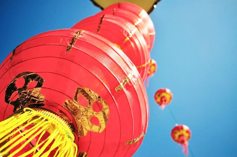 TakeoverContrast Blue Vibrant Color Blue Vibrant Color Clear Sky Low Angle View Cultures Close-up Red Colorful Sky Decoration Multi Colored Large Outdoors Group Of Objects Representation Lanterns Chinese New Year