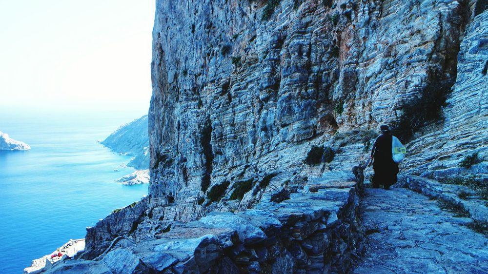 Down To Earth Monk  Hermit Walking Alone... Greece Monastery Walking Downhill