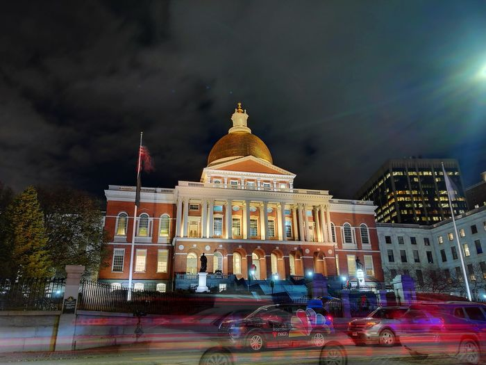 The night flow in front of the State House Mobility In Mega Cities Night Architecture Dome Politics And Government Built Structure History Building Exterior Government