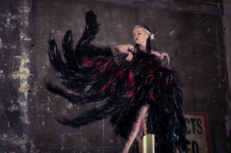 Who doesn't want giant feather fans? Action Burlesque Dance Fan Feathers Glamour Motion Blur Music Hall Panopticon People Portrait Showgirl Stage Strut The Portraitist - 2016 EyeEm Awards Theatre Woman Woman Portrait