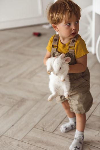 Full length of cute baby boy on floor