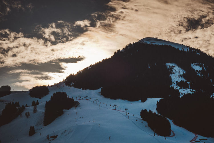 Skyline Beauty In Nature Cold Temperature Day Hinterglemm Landscape Mountain Nature No People Outdoors Saalbach Scenics Silhouette Sky Snow Snowcapped Mountain Sunset Tranquil Scene Tranquility Travel Destinations Vacations Water Winter