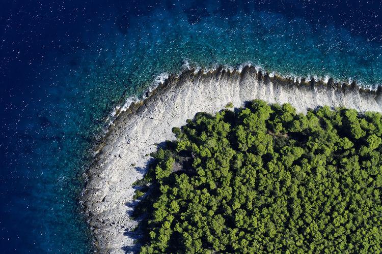 Aerial view of coastline with pine forest, hvar island, croatia