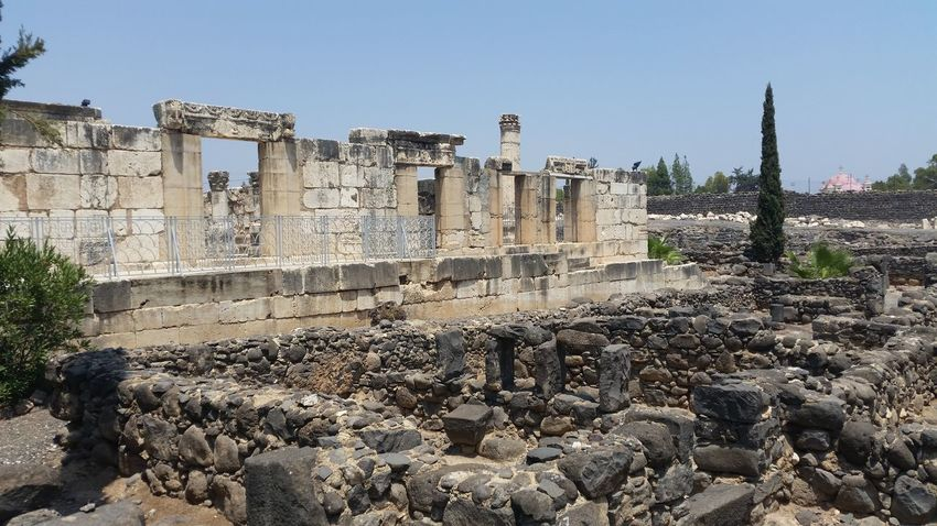 Capernaum Israel archaeological site Ancient Archaeological Architecture Biblical  Capernaum Fisherman Galilee House Jesus Christ Lake Miracles Saint Peter Sea Statue Synagogue