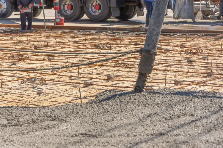 Construction Flooring Industrial Ready Backgrounds Cement Concrete Equipment Mixing Plasterers Pour Reinforcement Site Texture