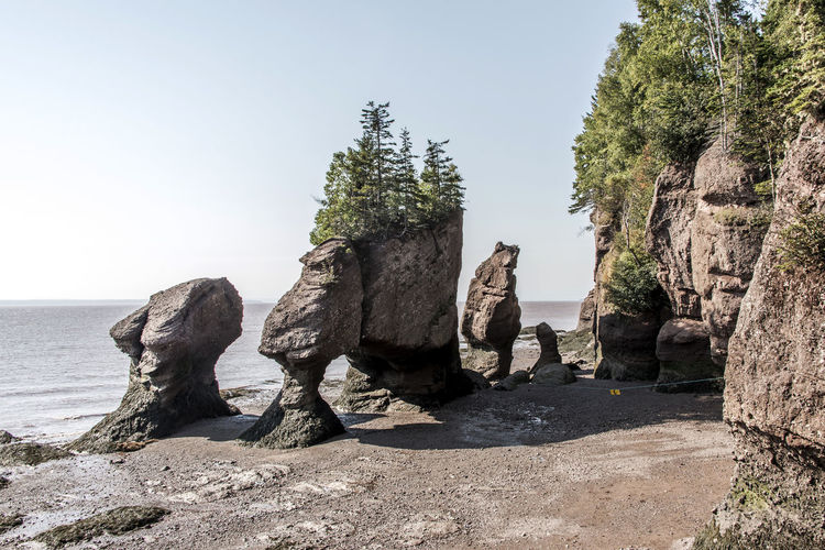 Panoramic shot of rocks by sea against clear sky