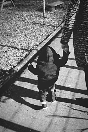 First Walk in the Park - My son's first Stroll at Kirkley Hall zoo. Mother And Son Mother And Child Blackandwhite Childhood Child Outdoors Spring Shadow Shadows Walking Day Leisure Activity People Ponteland Break The Mold