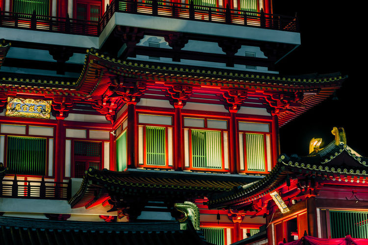 Close up of Temple, China town Singapore Architecture Built Structure Building No People Building Exterior Red Place Of Worship Illuminated Belief Religion Spirituality Roof Temple China Town ASIA Singapore Night