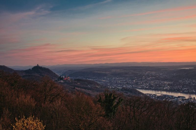 Sunset Sky Scenics - Nature Mountain Beauty In Nature Cloud - Sky No People Nature Plant Orange Color Tranquil Scene Environment Tranquility Landscape City Tree Architecture Building Exterior High Angle View Outdoors Cityscape Germany Drachenfels