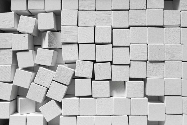 Backgrounds Full Frame Textured  Pattern Repetition White Blocks Abstract Design Wooden Wood - Material Cubes Large Group Of Objects Monochrome Black And White Black & White Geometric Shape Geometric Abstraction EyeEm Diversity