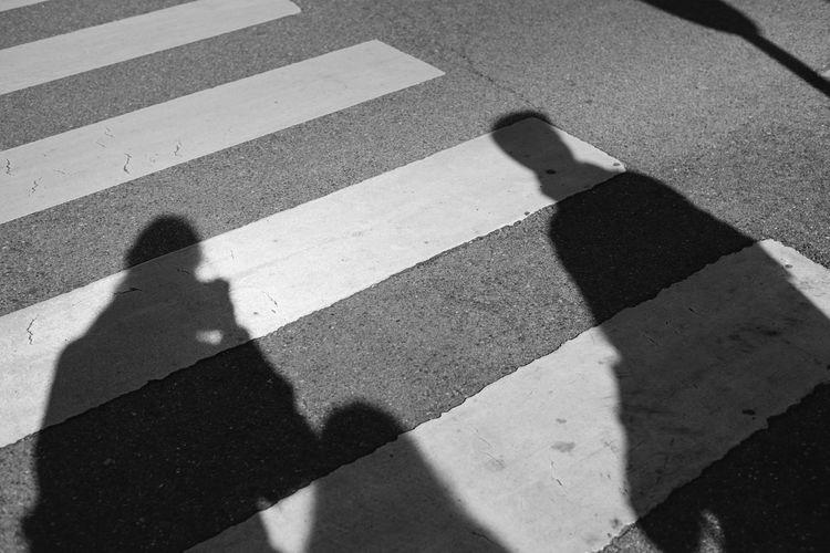Shadow of people on zebra crossing