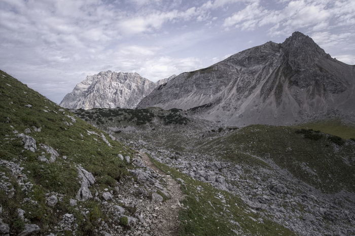 a last view to zugspitze Path Weg Zugspitze Beauty In Nature Day Landscape Mountain Nature No People Outdoors Pfad Scenics Sky