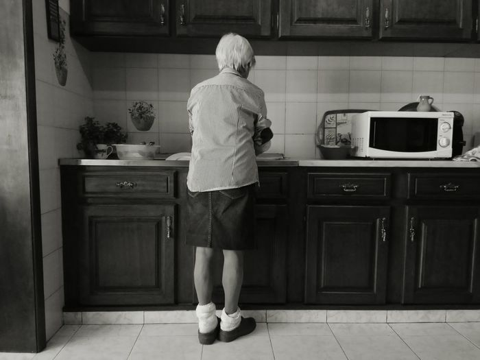 My grandma :) Love Grandmother Grandmas House Black & White Foreverinmyheart Washing Dishes Aged Beauty Slippers Whitehair