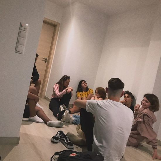 With some peeps 🖤🌚 Group Of People Sitting Crowd Men Real People People Party - Social Event Women Friendship Adult Casual Clothing