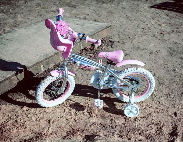 Bicycle Transportation Mode Of Transport Cycling Stationary Land Vehicle Wheel Pedal Riding Outdoors Pink Color No People Day Baby Stroller Mountain Bike Tire Playground Loneliness Contrast Cool Chrome Pimp EyeEmNewHere