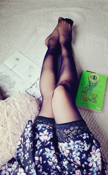 Immature Self Portrait Selfportrait Selfshot Legsselfie Skirt Stockings Blackstockings Lordoftherings Low Section Human Leg Lying Down Human Foot High Angle View Close-up Legs Crossed At Ankle Leg