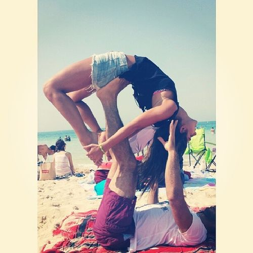 Sometimes you just have to close your eyes and enjoy the moment. Acroyoga Mydubai Axiomthinkup Yoga yogagymnastics acrobatic beach dubai uae