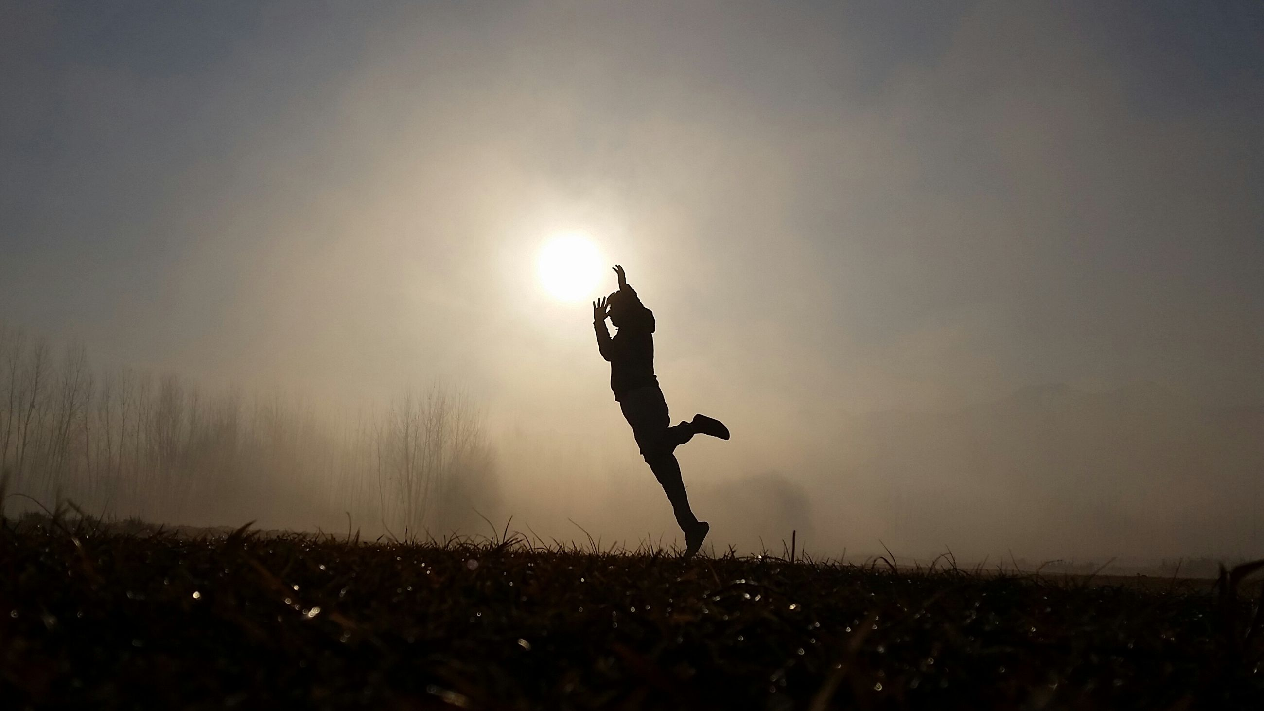silhouette, lifestyles, leisure activity, full length, mid-air, men, sunset, field, enjoyment, sky, landscape, arms raised, carefree, freedom, standing, dusk, copy space, jumping