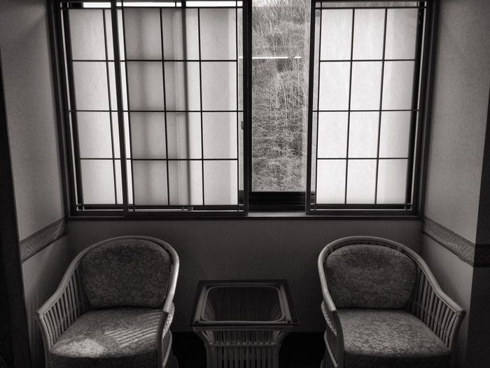 Empty chairs in house