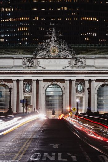 Architecture Built Structure Illuminated Light Trail Night Transportation Building Exterior Travel Destinations Long Exposure Blurred Motion Motion Road Direction City Street No People Speed The Way Forward Travel Arch