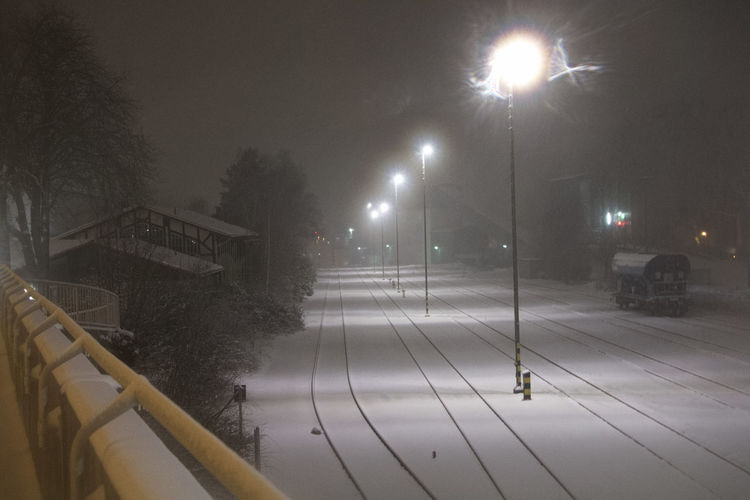 Lost Station Winter Bad Harzburg Cold Atmosphere Foggy Illumination No People Tracks Tracks In Snow Train Station