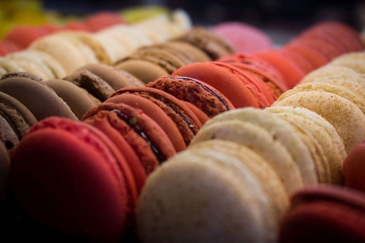 Close-up of multi colored macarons