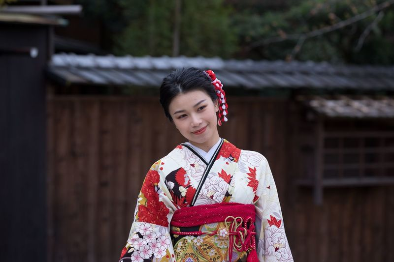 Young girl in kimono in Kyoto Streetphotography Kyoto Japan Kimono Girl Traditional Clothing One Person Women Kimono Adult Young Adult Clothing Real People Lifestyles Portrait Standing Females Outdoors Beautiful Woman
