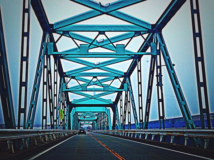 Blue bridge 🚕💨💨💨 Bridge Blue From My Point Of View EyeEm Best Edits EyeEmBestEdits IPhoneography Drive Enjoying Life Cockpitview Japan 鉄骨