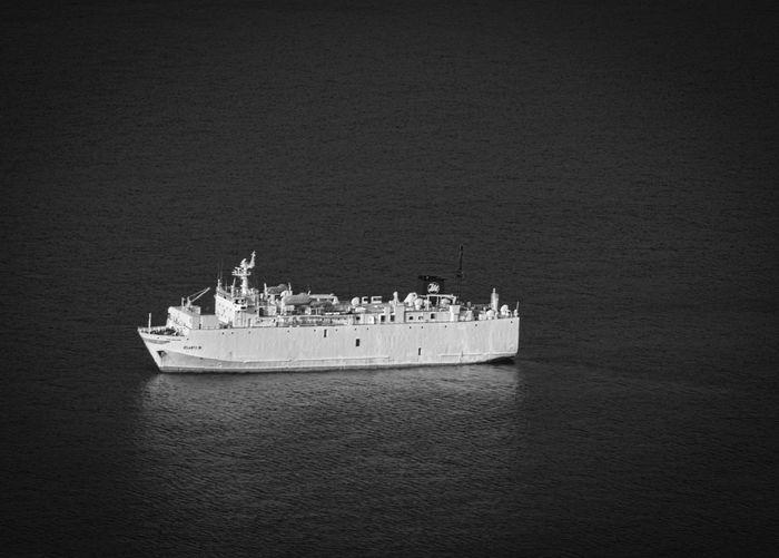 Ship sailing on sea