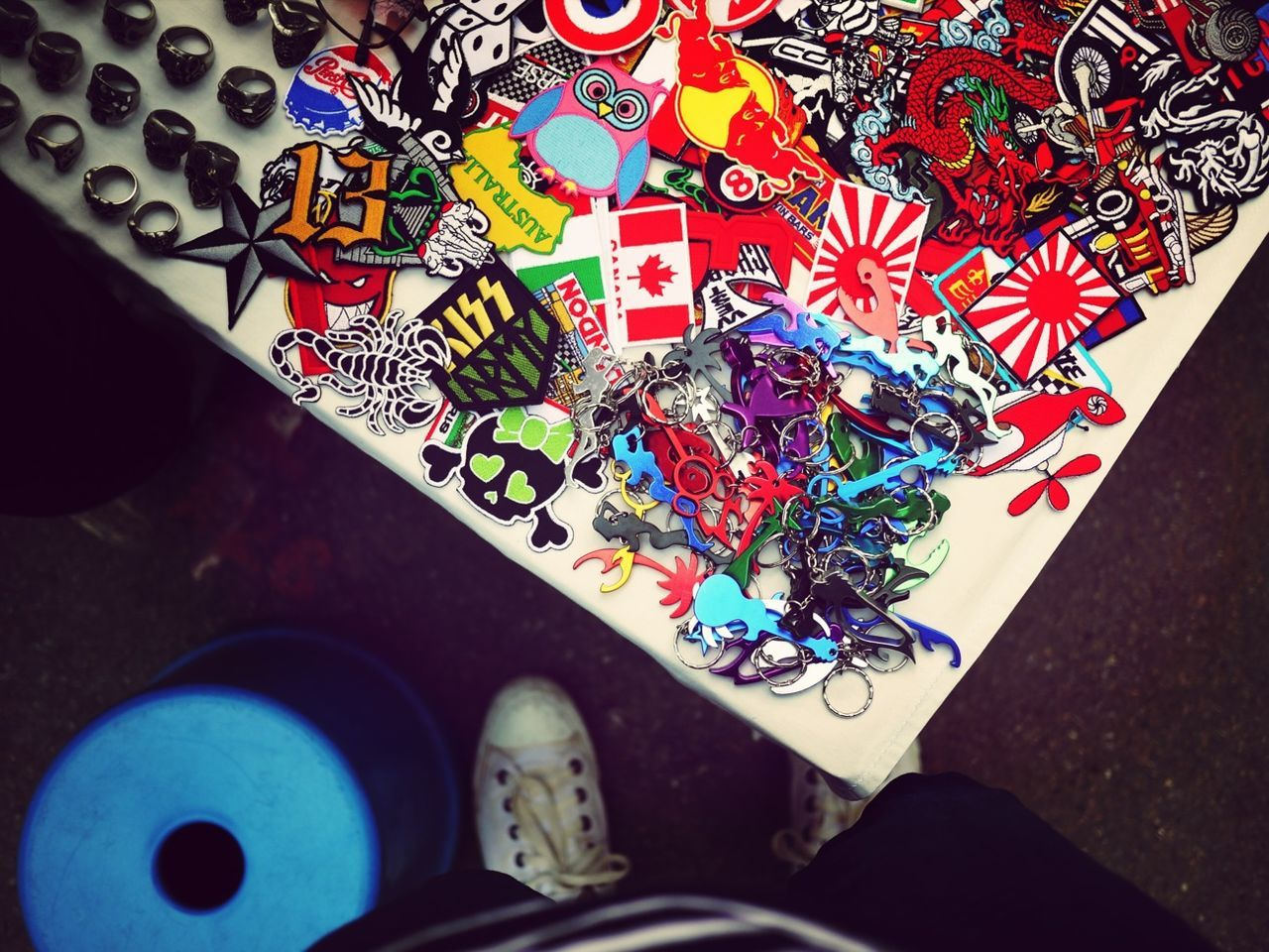 Close-up overhead view of colorful artifacts for sale