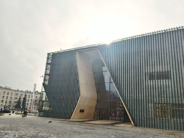 Jewish Museum in Warsaw Poland Snow Day Ghetto Architecture